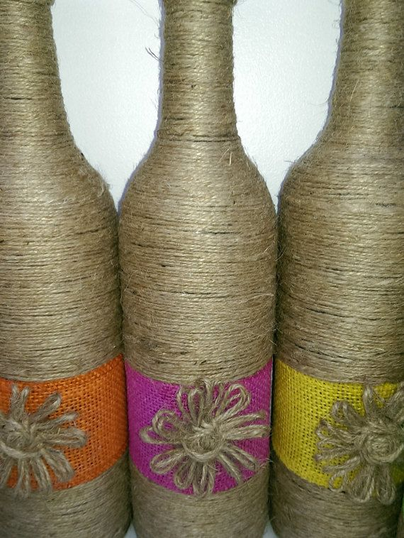 Yute envuelto botellas por Allimhandmade en Etsy