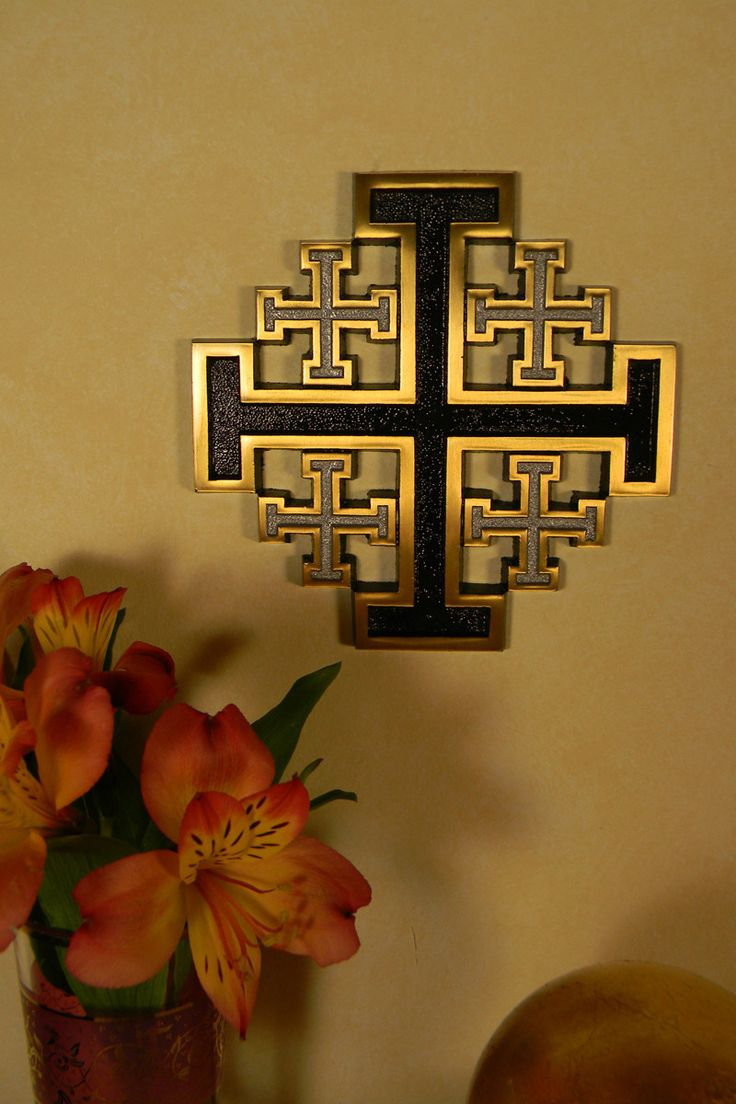 """Exquisite Hand Polished Bronze New Jerusalem Cross with black and silver sand finished enamel inlays. Comes with an anchor and screw to affix to your wall. - Measures 5"""" high - Made of Hand polished b                                                                                                                                                                                 More"""