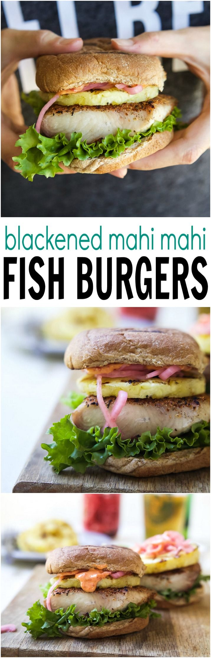A burger you can sink your teeth into! Blackened Mahi Mahi Fish Burger topped with grilled pineapple and sweet spicy Piquillo Pepper Aioli, the best part is it only takes 15 minutes to make! | joyfulhealthyeats.com
