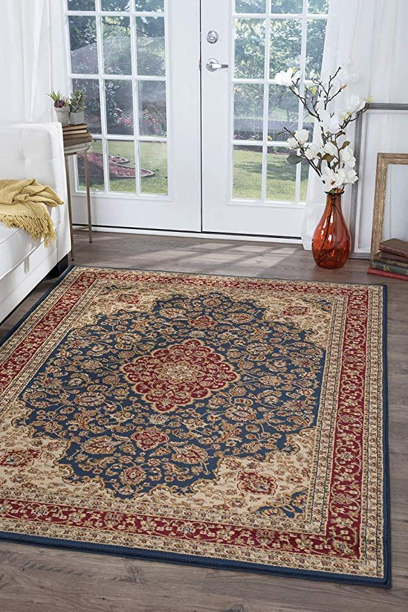 Amazon Com Kirsten Traditional Oriental Navy Rectangle Area Rug 9 X 12 Kitchen Dining In 2020 Oriental Area Rugs Traditional Area Rugs Area Rugs