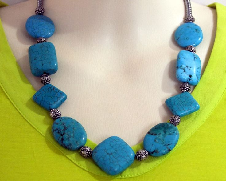 A similar necklace - only with more turquoise and less hemalyke! It looks really impressive with white, too!