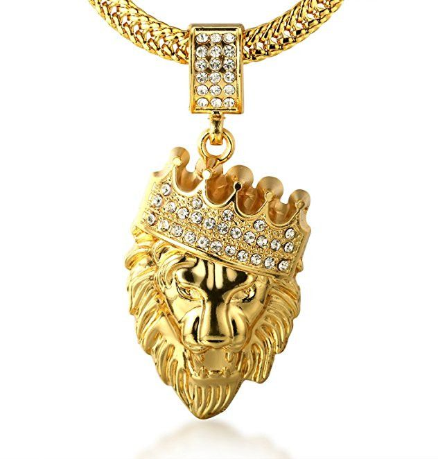 """Halukakah Men's 18k Stamp Real Gold Plated """"KINGS LANDING"""" Heavy Made Crown Lion Pendant Necklace with FREE SharkTail Chain 30"""""""