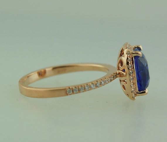 Blue sapphire engagement ring. 14k rose gold ring by EidelPrecious