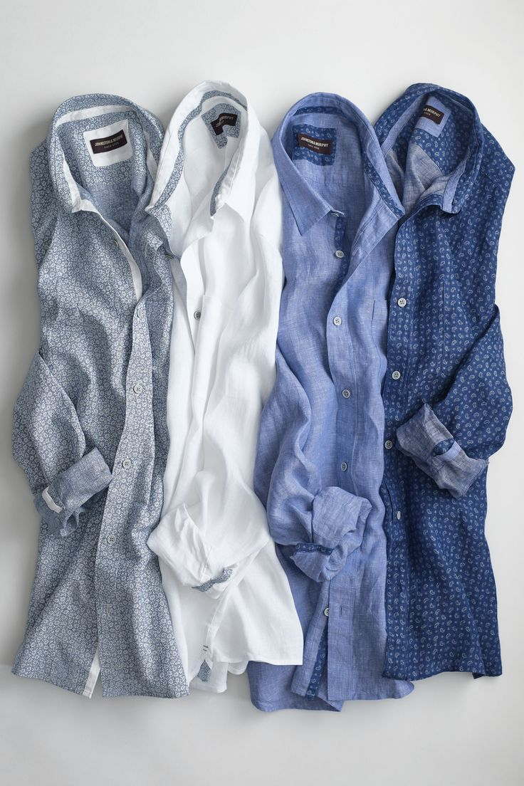 Johnston & Murphy's washed linen shirt will enhance any spring wardrobe, with the casual feel and extra softness it will quickly become your spring essential shirt!