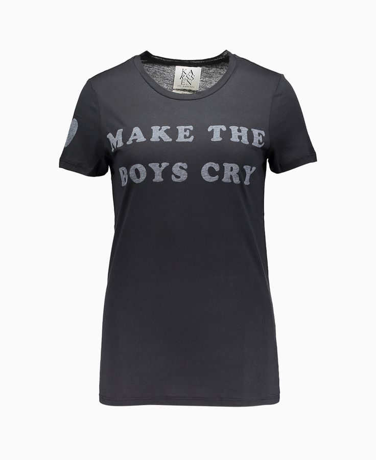 Zoe Karssen - Make The Boys Cry Heart T-Shirt - Black - Tops - Womens