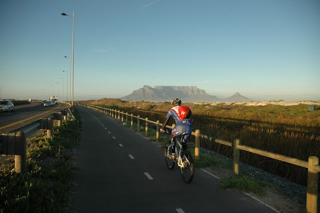 Early morning cycle lane commute to work on a perfect Cape Town morning #pinyourcity