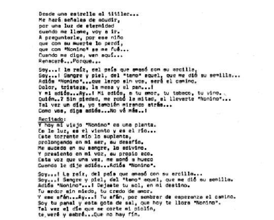 Tango 0 Música: Astor Piazzolla. Letra: Eladia Blázquez.