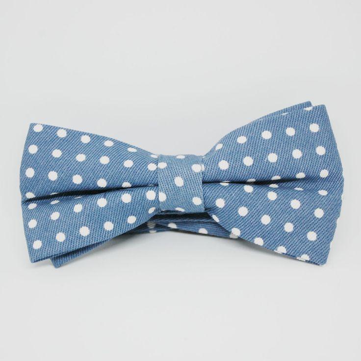 Мужская галстук-бабочка из джинсы в белый горошек