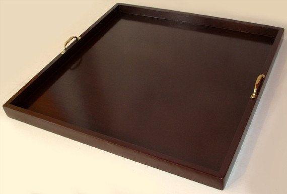 Large 30x30 Handmade Dark Brown Ottoman Tray By