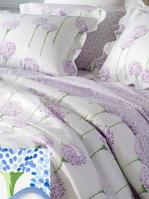 We can't get enough of the hydrangea floral pattern on the Charlotte Bedding Collection by Matouk.