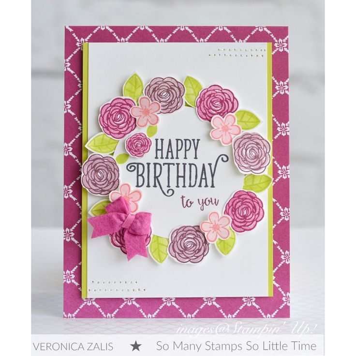 "I created this card using the new Stampin' Up! stamp set ""Happy Birthday Gorgeous"". Ink: Lemon Lime Twist, Fresh Fig, Berry Burst, Flirty Flamingo. Cardstock: Lemon Lime Twist, Whisper White DSP: Fresh Florals"