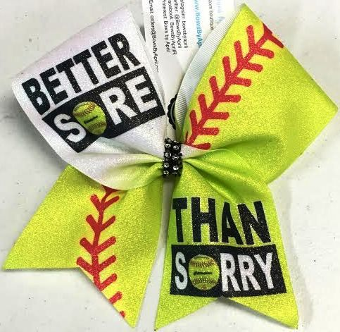 Bows by April - Better Sore Than Sorry Softball Bow, $15.00 (http://www.bowsbyapril.com/better-sore-than-sorry-softball-bow/)