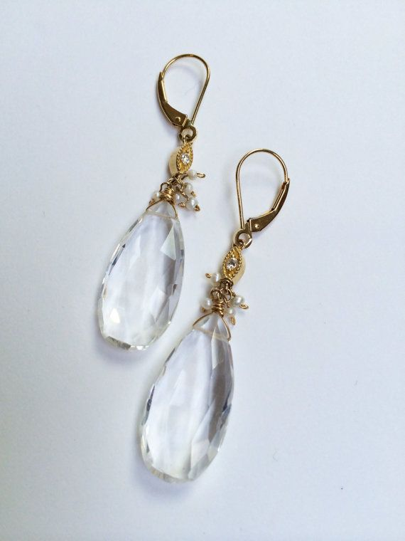 14k Vintage diamond and Quartz Earrings with Seed by GiltJewelry, $435.00