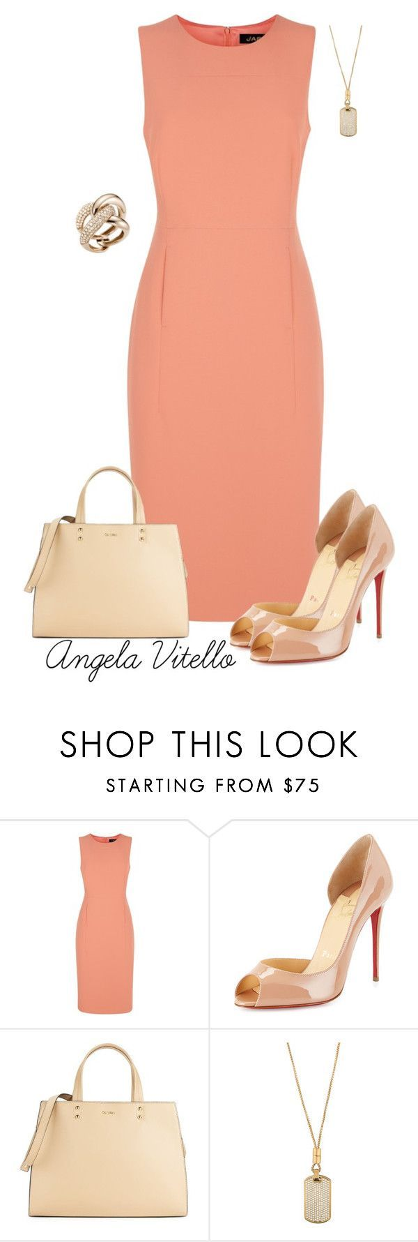 """""""Untitled #696"""" by angela-vitello on Polyvore featuring Jaeger, Christian Louboutin, Calvin Klein, Michael Kors and Mattioli"""
