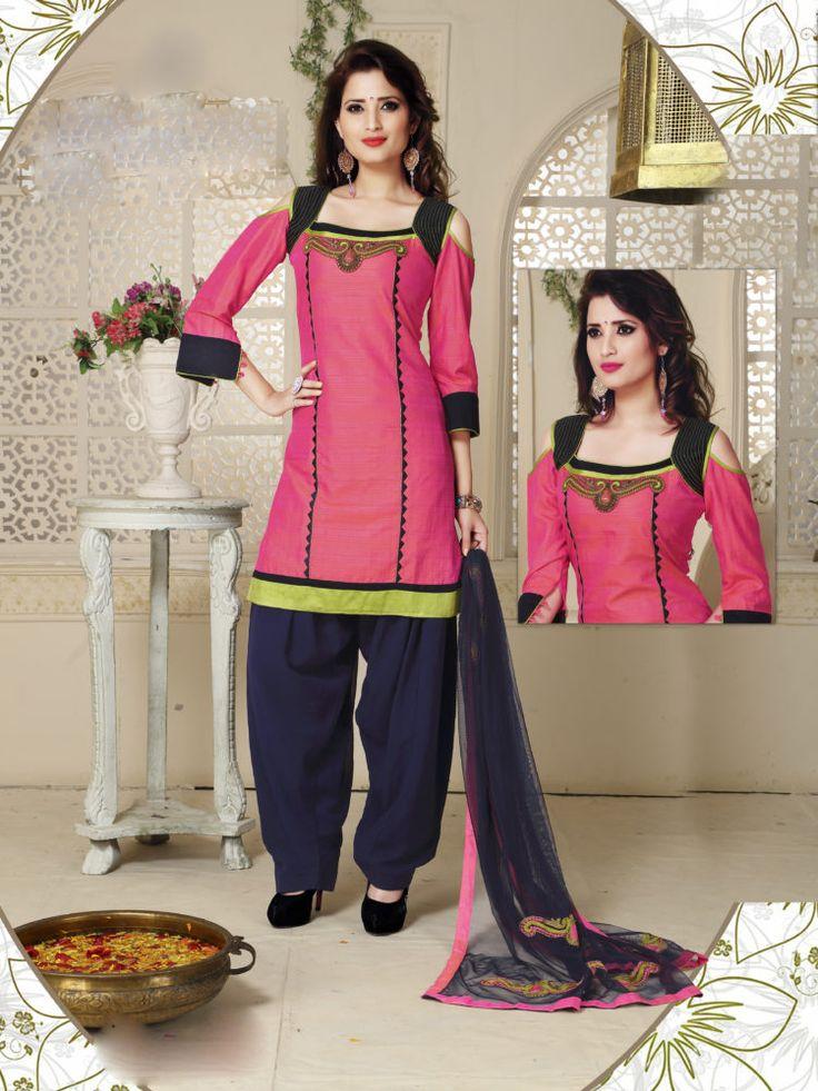 Pink & Blue Color Readymade Patiala Salwar Suit - ClickOnBazar  #onlinepatiala #designerpatialasalwar #patialasalwarsuits #designerpatialasalwar #clickonbazaarpatialasuits