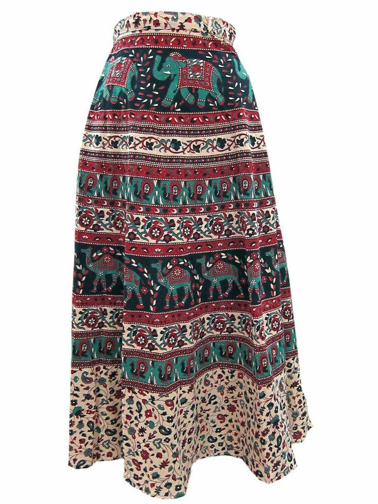 Trendy Chic Boho Style Wrap Around Skirt Ladies Fashion Long Cotton Skirts