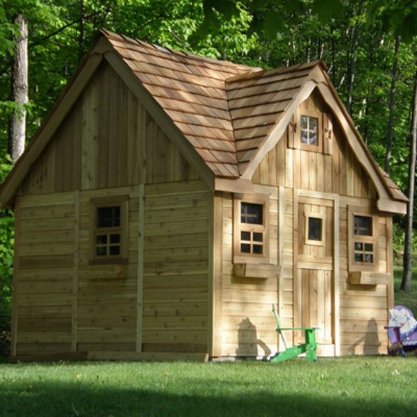A cozy little cottage, nestled in the woods. Who lives there? A princess? A witch? Perhaps 7 little dwarfs? Our Lauren's Cottage Playhouse - a fairytale in the