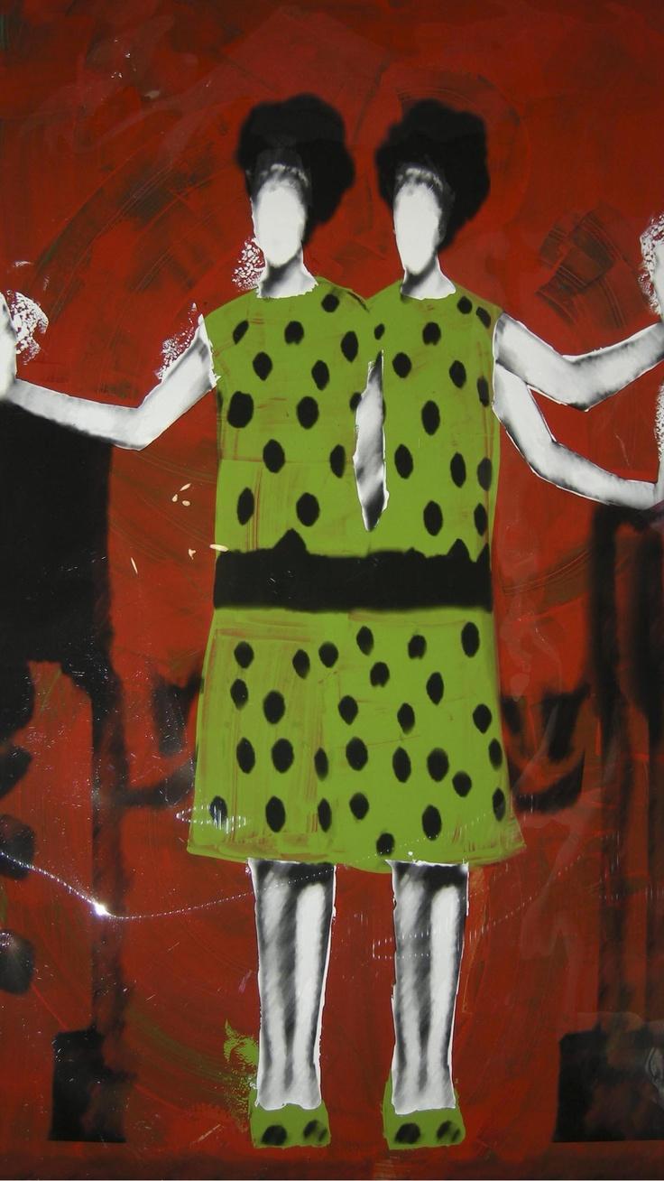 Carolina Convers  Green Margaritas, 2012  Print and enamel on acetate  140 x 80 cm. / 55.1 x 31.5 in.