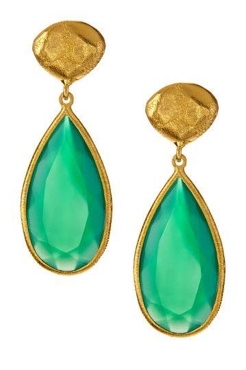 Green Agate Long Teardrop Earrings