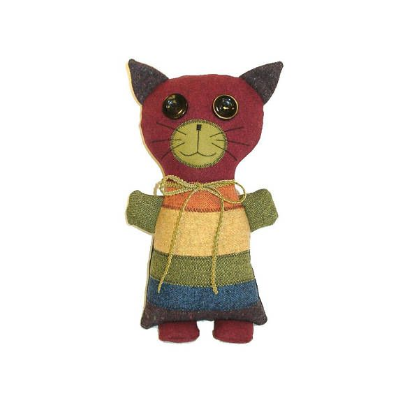 KYLE The Misfit Moggy cat. The Misfit Moggies are adorable, lovable cats made from suit coat remnants and scraps.  Moggy (or moggie) is a British word for non-pedigree cats - the mutts of the cat world. #stuffedanimalcat #catlover #stuffedanimal #rainbowlove #rainbow