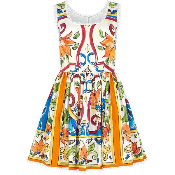 Dolce & Gabbana Printed Cotton Mini Dress - Size 6 (4,855 MYR) ❤ liked on Polyvore featuring dresses, colorful dresses, cotton mini dress, pleated mini dress, multi print dress and multi coloured dress