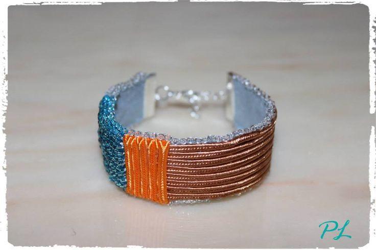 Bracciale con perline trasparenti e azzurre e soutache arancio e nocciola lungo 18 cm by Paola Longo creazioni https://www.facebook.com/pages/Paola-Longo-creazioni/615398268566782?fref=photo