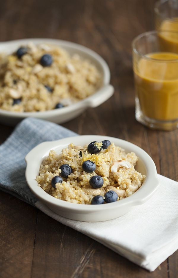Lemon Scented Quinoa and Millet Breakfast with Blueberries | Grains ...