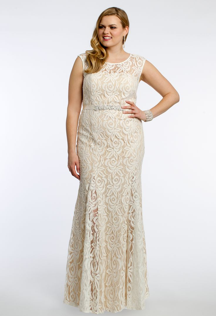 34 best prom dresses plus size images on pinterest plus size sleeveless lace dress with rhinestone belt from camille la vie and group usa ombrellifo Images