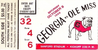 Georgia football art on canvas made from an authentic 1966 Georgia football ticket. Perfect Georgia football art for a game room or office. Terrific Georgia football gift. Also available as a ROW 1™ Shirt or set of Georgia football ticket drink coasters. Click to read about Georgia's outstanding 1966 football season.