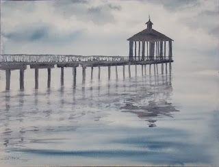 Fontainbleu Pier, 12x16 #watercolor $125. #art #painting #Louisiana #LakePontchartrain #MasterArtist