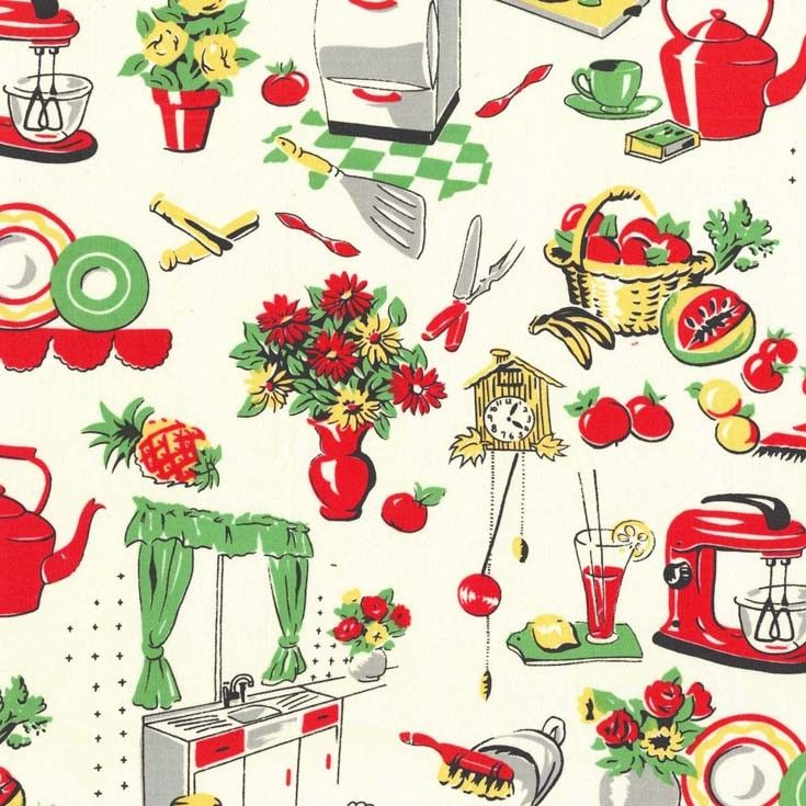 This will be made into our flirty apron with coordinating red skirt.   Cx1595 Fifties Kitchen cream retro michael miller essentials kitchen cooking