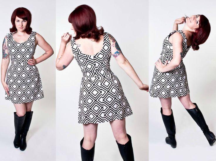 geometric mod 1960s style print dress