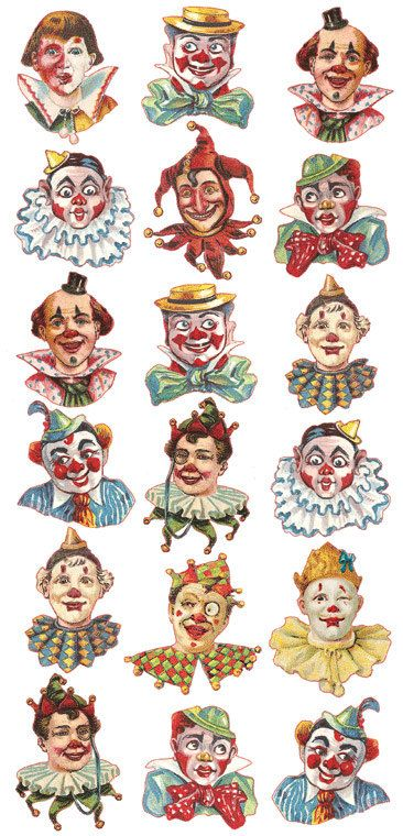 Self Adhesive Clown Circus Faces Stickers 1 Sheet Colorful Scrapbooking Stickers  Number 109