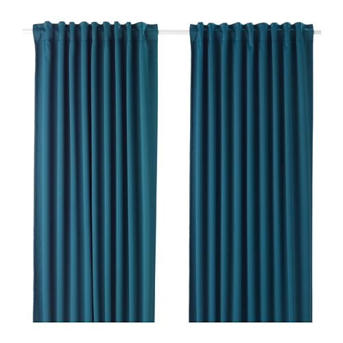 IKEA - MAJGULL, Block-out curtains, 1 pair, , The room darkening curtains have a special coating that blocks light from shining through.Effective at keeping out both drafts in the winter and heat in the summer.The curtains can be used on a curtain rod or a curtain track.The heading tape makes it easy for you to create pleats using RIKTIG curtain hooks.You can hang the curtains on a curtain rod through the hidden tabs or with rings and hooks.