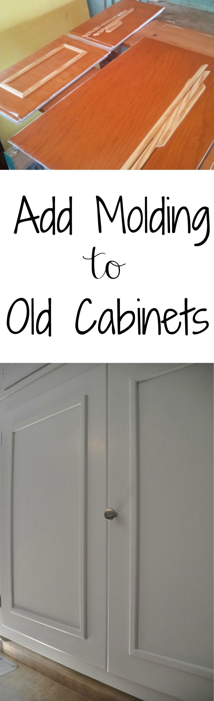 Add Molding to Old Cabinets. Great way to update old cabinets!