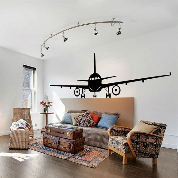 Airplane wall decal jumbo jet vinyl sticker home arts wall for Airplane wall decoration