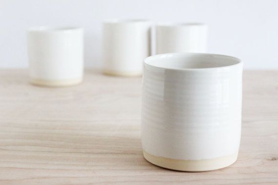 White pottery cups, handmade minimalist ceramic tumblers, set of four modern ceramic cups.