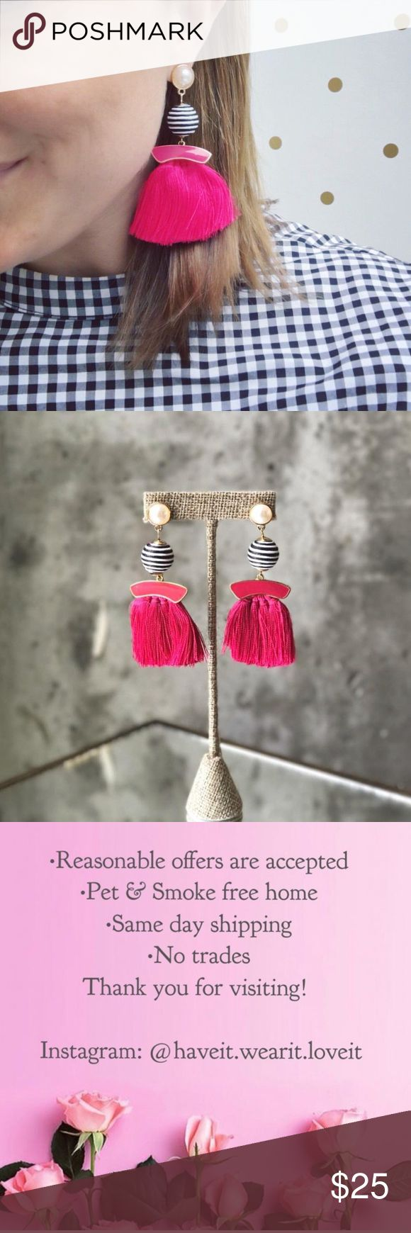 Pink Tassel Earrings Pink Tassel Earrings. Coming soon to my Poshmark Boutique Jewelry Earrings