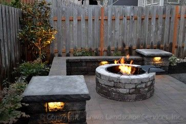 backyard patio with fire pit & bar | ... Patio, Seat Wall, Fire Pit, Outdoor Lighting, Landscaping modern patio