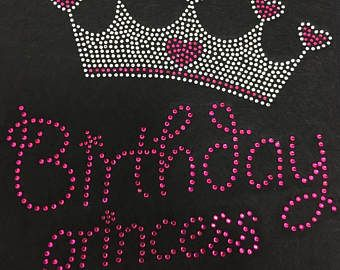 Verjaardag Prinses Rhinestone hotfix ijzer op warmte overdracht stoffen MOTIF kristal harten kroonprinses