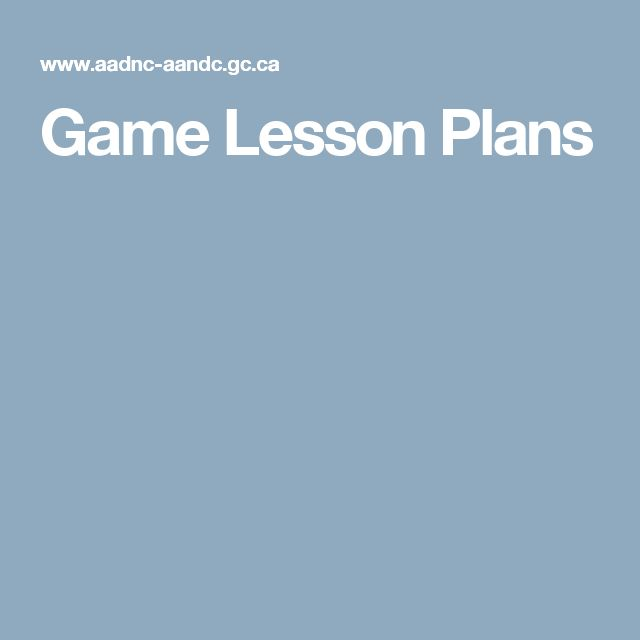Game Lesson Plans