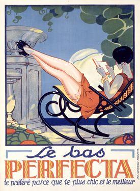 Vintage Le bas Perfecta Womens Stockings Fashion Giclee Print