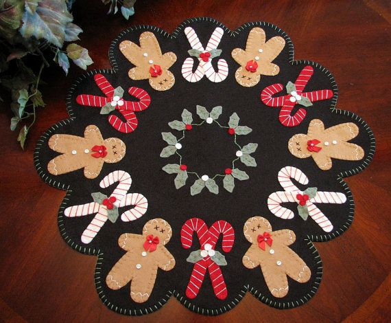 Lg. 22-1/2 Hand Stitched GINGERBREAD - CANDYCANES - HOLLY  Wool-Felt Penny Rug Table Mat...ofg team via Etsy