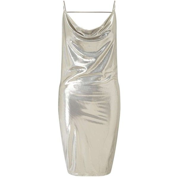 Miss Selfridge Silver Lame Cowl Neck Dress ($30) ❤ liked on Polyvore featuring dresses, tops, metallic, silver mini dress, metallic dress, strappy cami, mini dress and silver dress