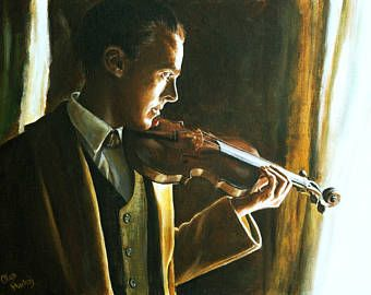 Giclee , fine art oil painting print, Sherlock, Benedict Cumberbatch, The Abominable Bride, portrait, violin, soft light, Olga Harhaj
