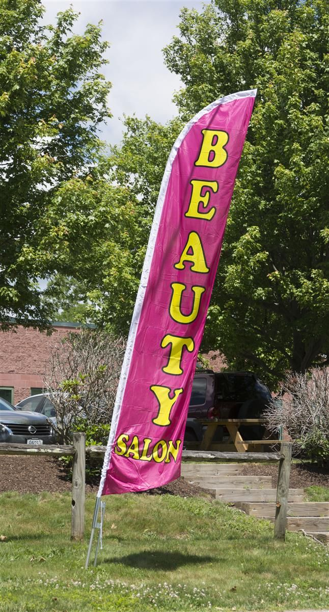 14' Feather Flag & Ground Spike with Pre-Printed BEAUTY SALON Message - Pink