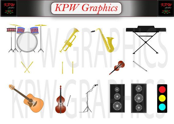 Musical Instruments and Accessories Clipart Set in by KPWgraphics