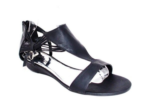Black summer sandal with cool zip at the back and multi straps each side.  #kmjshoes  #sandals