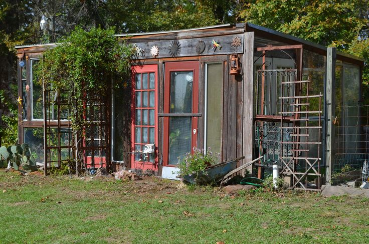 The couple used the existing support poles to frame their 270-square-foot greenhouse, and collected windows and doors from friends, family a...
