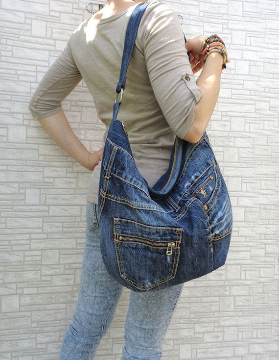 Denim bag slouchy tote large handbag purse shopper by BukiBuki